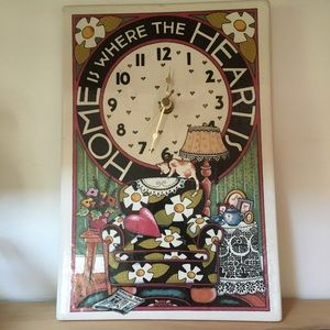 """Mary Englbriet Clock """"HOME IS WHERE THE HEART IS"""""""